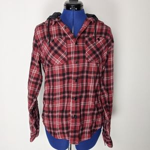 Cabin fever red and black plaid Button up hoodie